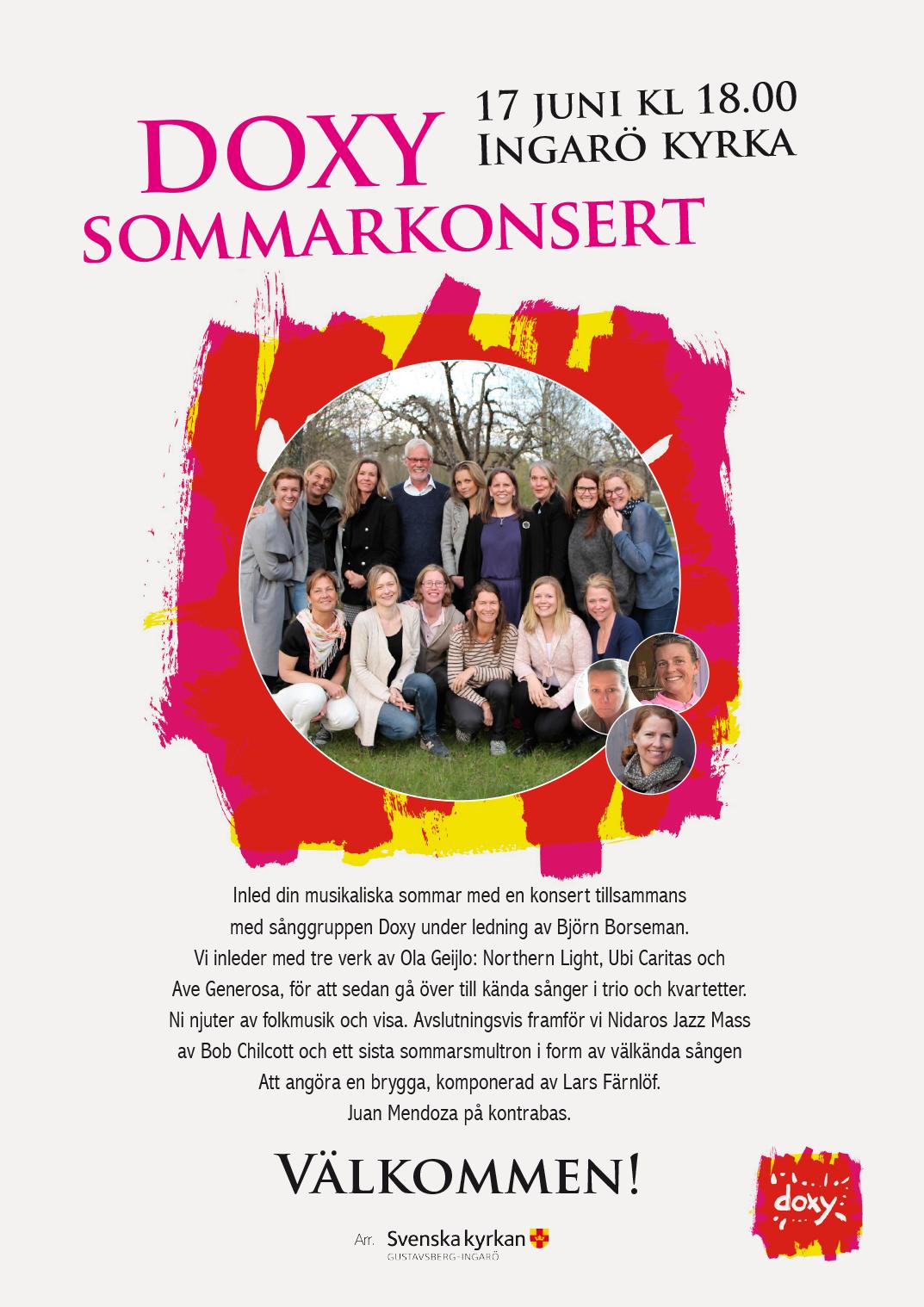 Doxy Sommarkonsert 17 juni Ingarö kyrka