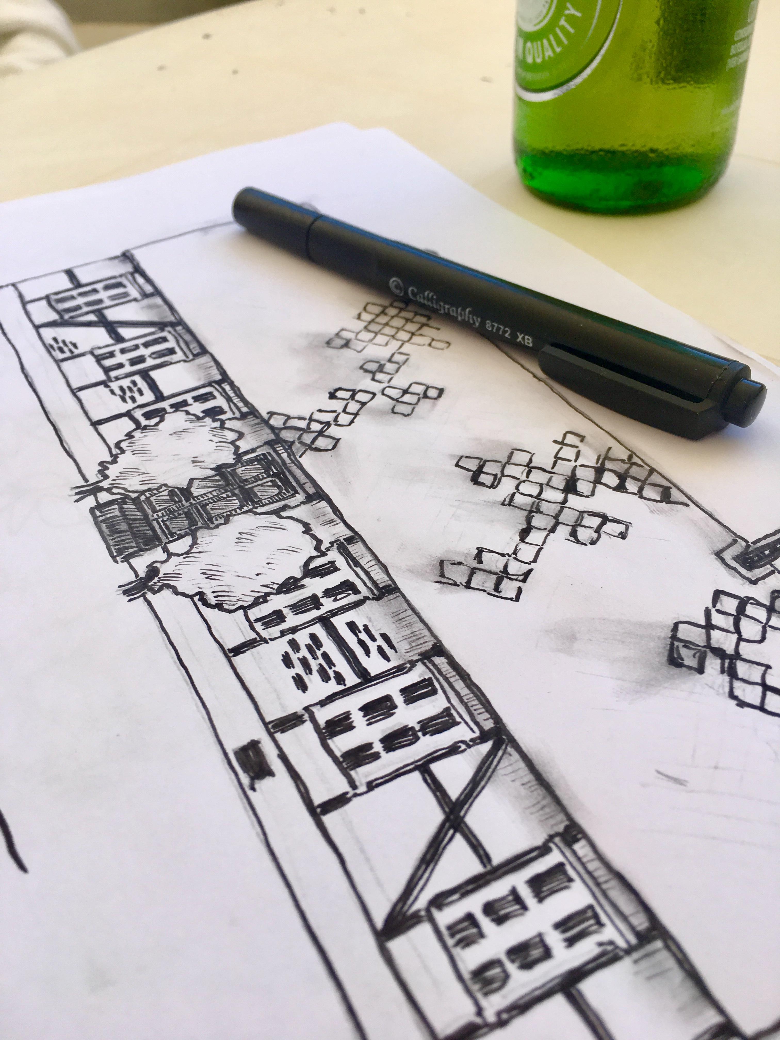 Teckningskisser för ny logotyp