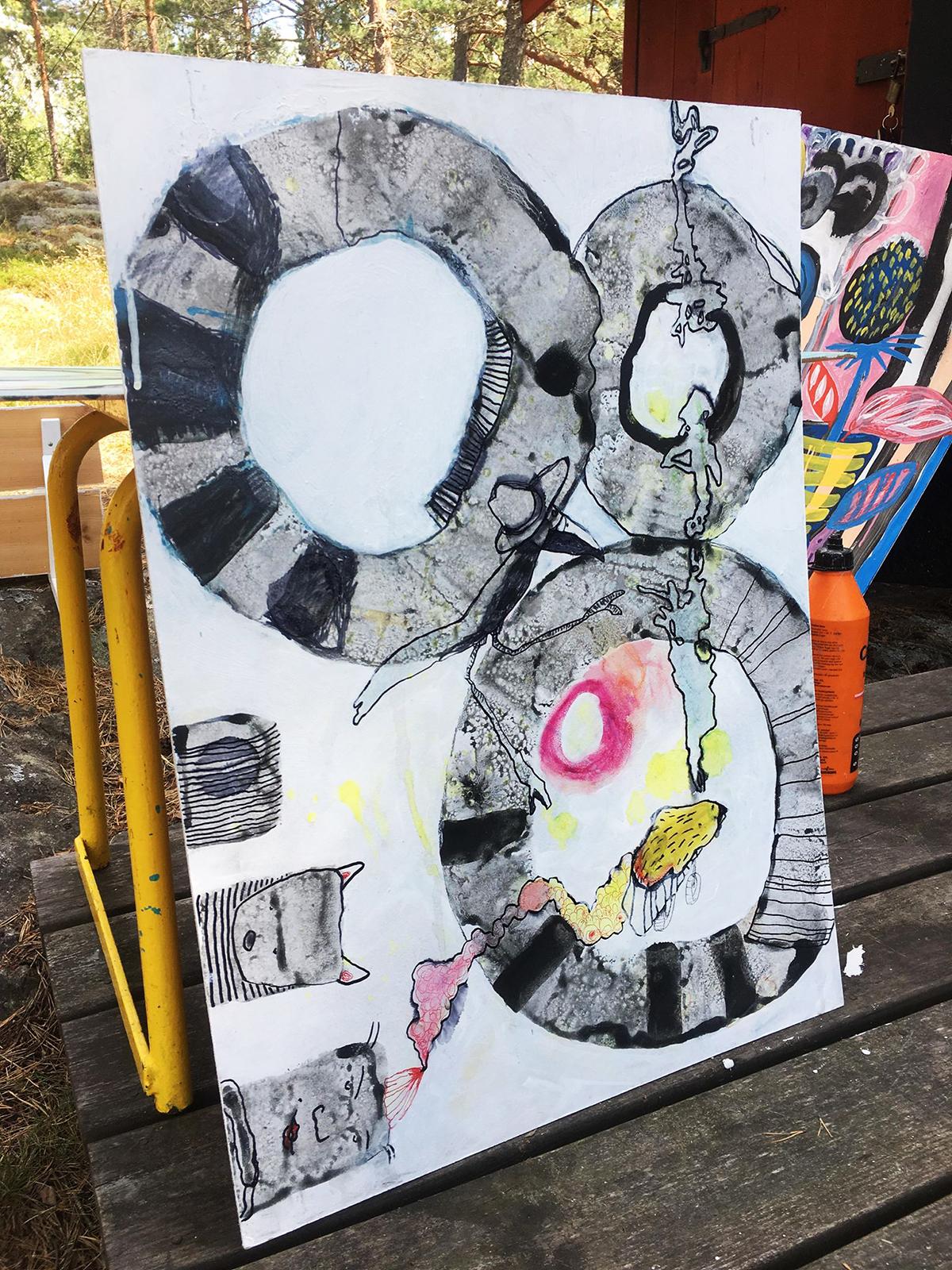 Inramning av konst på Hammersta